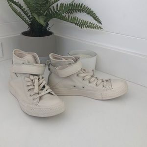 Converse leather hi tops, new worn once